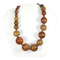 Amber Bakelite Graduated Necklace – 1930s/40s – 124g!