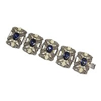 Gorgeous Panel Bracelet – faux Sapphire and Pearls – 1950s/60s – Huge
