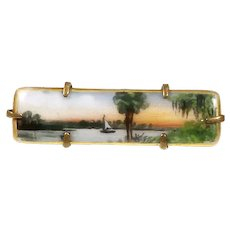 Rare Olive Commons Hand-Painted 'Cameona' Porcelain Brooch – Florida Landscape – 1920s/30s
