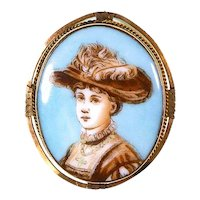Antique Edwardian Porcelain Pin – Portrait of Lady – Gibson Girl –ca. 1890 – 1910