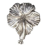 Mings of Honolulu Sterling Hibiscus Brooch