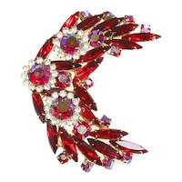 Weiss unsigned Crescent Pin – Red and Red Aurora Borealis Rhinestones – Knockout