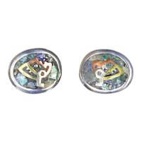 Mexico Mixed Metal and Mosaic Sterling Pierced Earrings – Warrior – Taxco