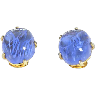 Kenneth Lane –KJL – 1970s – Large Flawed Sky-Blue Cabochon Earrings