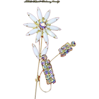 Delizza and Elster Juliana Verified Flower Brooch – Milk Glass and Aurora Borealis Rhinestones