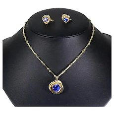 Coro Gold Tone Love Knot Pendant Necklace and Earrings – faux Sapphire – late 1940s/early 50s