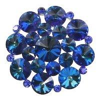 Weiss Peacock Blue Rivoli Crystal Pin