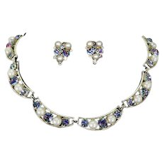 Iris Glass and faux Pearl Necklace and Earrings