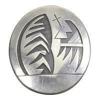 Vintage Hopi Overlay Sterling Silver Pin/Pendant – Signed