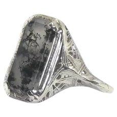 18K White Gold Filigree Ring – Moss Agate – Edwardian Era ca. 1910