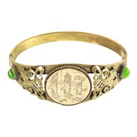 Art Nouveau Beaux-Arts Ornate Hinged Bracelet – Frolicking Fish Motif – 1890s – 1910