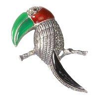 Jeweled Parrot/Tropical Bird Pin – Sterling Silver, Carnelian, Chrysoprase, Marcasite, Garnet, Onyx