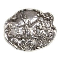 Equestrian Scene Pin – Sterling Silver – Repoussé – Horses and Dogs