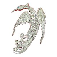 Bird Figural Pin – Pavé Rhinestones and Pot Metal – 1935 – early 1940s
