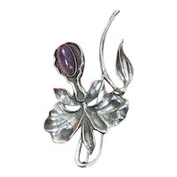 Orchid/Floral Pin – Sterling Silver and Amethyst – 1940s