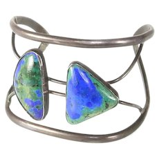 Early Navajo Native American Split Band Silver and Chrysocolla Cuff Bracelet – 1940s/1950s – 'Old Pawn'