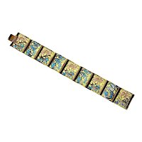 Joan Rivers Plique A Jour Enamel Panel Bracelet – Waterlily/Lotus – 1990s