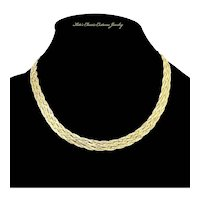 Italy Sterling Six Strand Woven Herringbone Chain Necklace – Vermeil