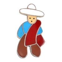 Mexican Man figural Pin/Pendant – Enamel and Sterling – Handcrafted