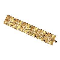 Vendome signed Shimmering Gold Tone Panel Bracelet – Mid Century Modern