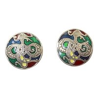 Miracle Sol D'or Celtic Dragon/Sea Serpent Pierced Earrings – Enamel and Gold Plate