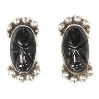 Mexican Sterling Silver and Carved Onyx Face/Mask Earrings – Signed – 1950s/1960s