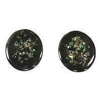 Vintage Oval Neon Sparkle Pierced Earrings – 1980s