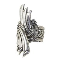 Mexico Silver Hinged Clamper Cuff Bracelet – Huge – pre-Eagle – Art Deco Motif