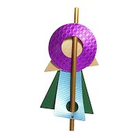 Vintage Memphis Design Pin – Anodized Aluminum – 1980s – Postmodern
