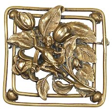 Art Nouveau Repoussé Brass Dimensional Brooch – Child/Sprite in Garden – early 1900s