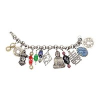Napier unsigned Asian Themed Charm Bracelet –'Shangri-La/Buddha'– Book Piece – 1950s