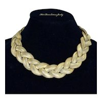 Ingrid Cusson Rare Designer – Braided Gold Tone Necklace – 1980s