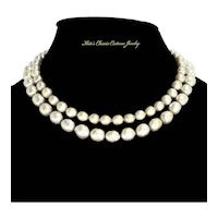 Miriam Haskell Double Strand faux Baroque Pearls – late 1950s/1960s