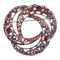 Florenza Fabulous Eternity Pin – Book Piece – Red Aurora Borealis Rhinestones