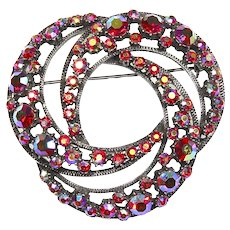 Florenza Fabulous Eternity Pin – Book Piece – Red Aurora Borealis Rhinestones
