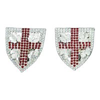 Monty Don Very Rare Rhinestone Earrings – Heraldic Shield and Cross – 1980s – England
