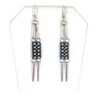 Vintage Zuni Needlepoint Turquoise Dangle Earrings – signed J. A.