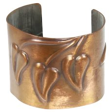 Rebajes Early Copper Cuff Bracelet – Modernist Repoussé Leaf – late 1930s/early 1940s