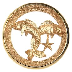 Crown Trifari Zodiac Pin – Pisces – Fish – February 19 – March 20