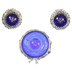 Whiting and Davis Cobalt Blue Molded Glass Brooch and Earrings – late 1950s/early 1960s