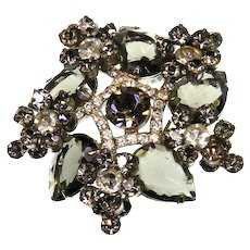 Delizza and Elster Juliana Verified Black Diamond Brooch
