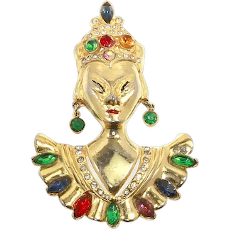 Reinad unsigned Asian Princess Pin – 1940 – Book Piece