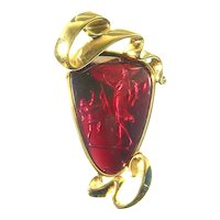 Stunning Scaasi Reverse Carved Glass Intaglio Pin – Cupid and Venus