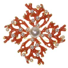 KJL Kenneth Jay Lane Enamel Coral Branch and faux Pearl Brooch/Pendant – Massive