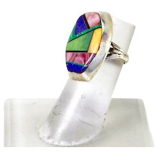 Vintage Navajo Native American Frank Yazzie Sterling Multi Stone Inlay Ring