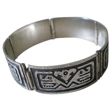 Iconic Mid-century MEXICO Handwrought Sterling Silver Overlay Tribal Two Headed Snake SERPENT PANEL BRACELET ~ 29 Grams - Red Tag Sale Item