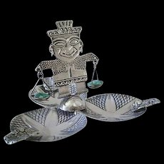 Uncommon Mid-century COLOMBIAN Handcrafted .900 Silver Kinetic Tribal Figural Ashtray Incense Burner TRINKET TRAY with Raw Emeralds ~ 52 Grams ~ Unique Conversation Piece + Gift Idea!
