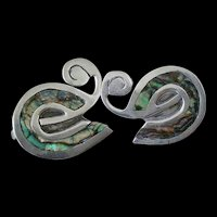 Charming TAXCO Mexico Mid-century Handwrought Signed Sterling Silver Abalone Abstract SWAN EARRINGS