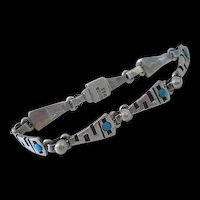 Fabulous HANDWROUGHT Mexican Sterling Silver Overlay Serpent SNAKE LINK BRACELET with Turquoise Poured Glass Accents