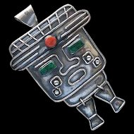 Uncommon PERUVIAN 1950s Handwrought Pre-Columbian Tribal Kinetic Sterling Silver Figural BROOCH PENDANT with Chrysocolla and Spondyllus Cabochon Accents